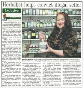 Lorraine Hodgkinson Herbalist Cockermouth Helps in Black Rhino Horn Conviction